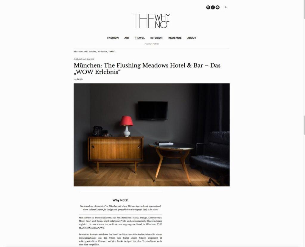 CLIPPINGS | The Flushing Meadows – Design Hotel & Bar – Munich